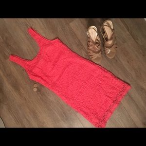 Pink Forever 21 Body Con Lace Dress Size S